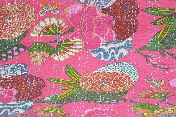 Hippie Bohemian Twin Kantha Quilts Cotton Blanket Handmade Fruit Print Bedding