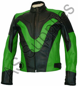 Veste cuir moto vert