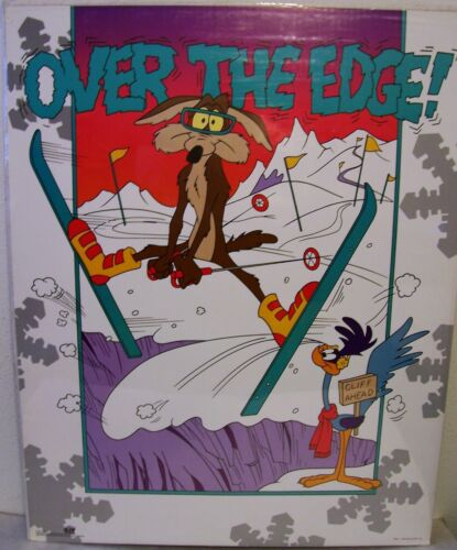 "Wile E Coyote Over the Edge Vintage 1992 Skiing Poster  22/""x 28/""  Never Used"