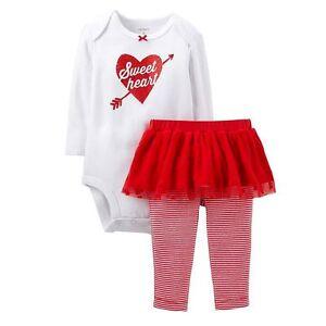 CARTER'S GIRLS' 2PC SWEETHEART BODYSUIT RED TUTU PANT SET 3M-24M VALENTINE'S DAY