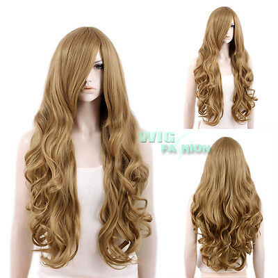 "31"" Heat Resistant Long Curly Dark Blonde FashionHair Wig With Long Bangs"