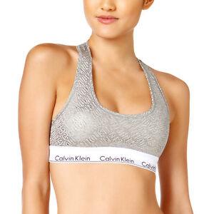 NEW Genuine CALVIN KLEIN Grey Metallic Logo Bralette Sports Bra Womens Large
