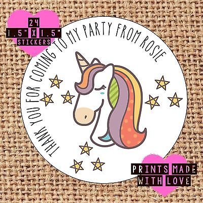 Personalised unicorn 24 party bag stickers sweet cone labels thank you recl