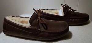 NEW UGG Leather Slippers BYRON Chocolate Brown Men's Size 8