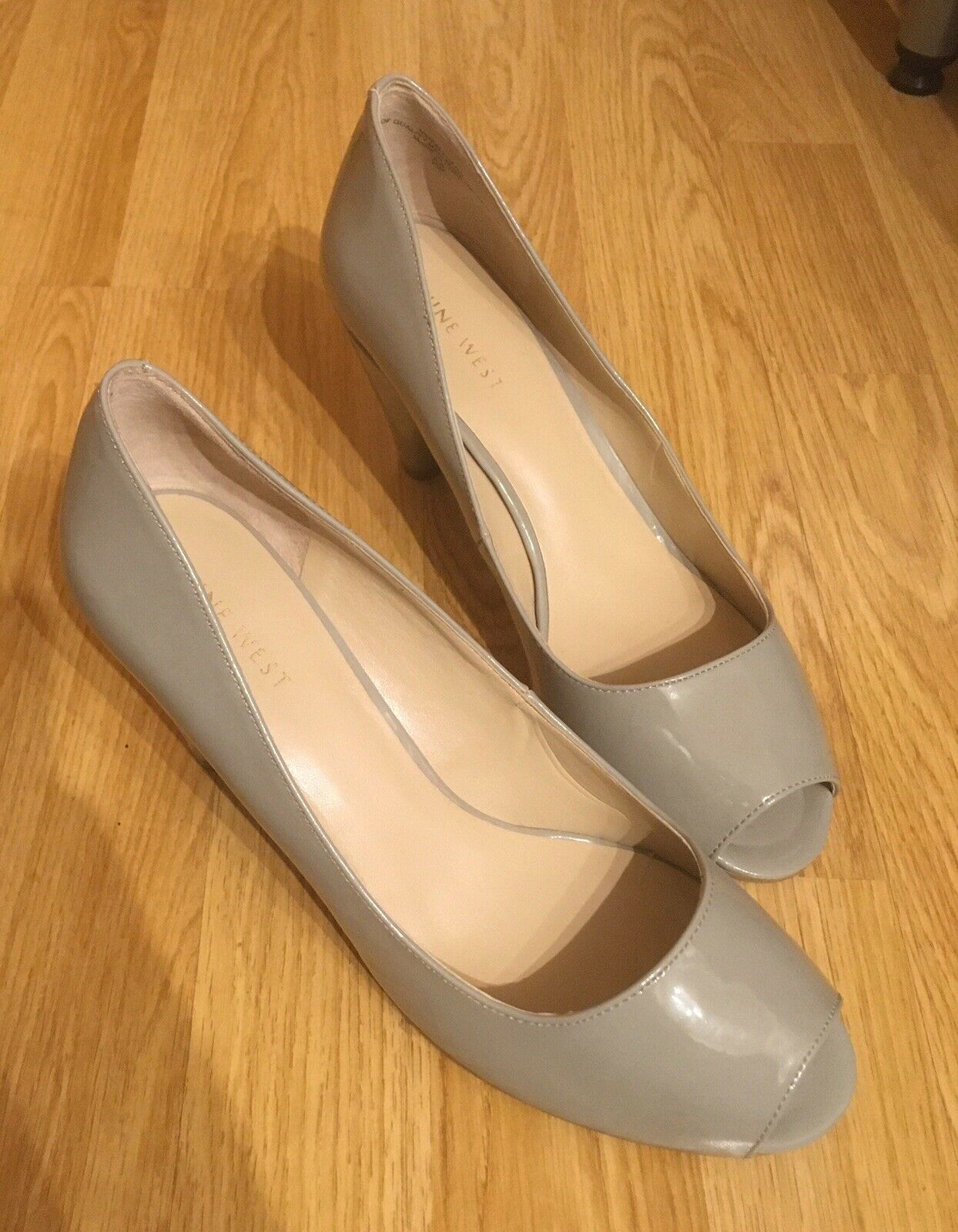 Grey/Light Patent Peep Toe Fallhard3 Heels By Nine West New With Box