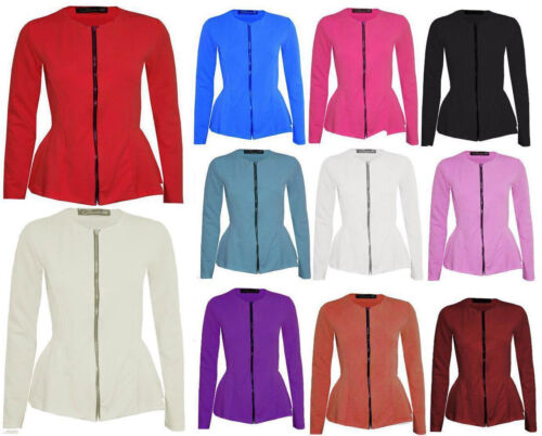 Womens Ladies Frill Shift Tailored Zip UP Long Sleeve Peplum Blazer Coat Jacket