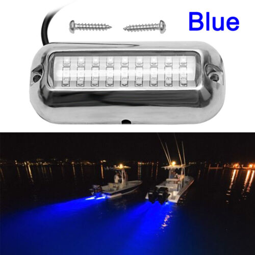 BLUE 27LED 50W Underwater BOAT MARINE Transom LIGHTS 316 Stainless Steel Pontoon