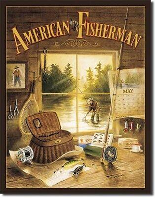 American Fisherman TIN SIGN fishing cabin home decor wall art metal poster 960