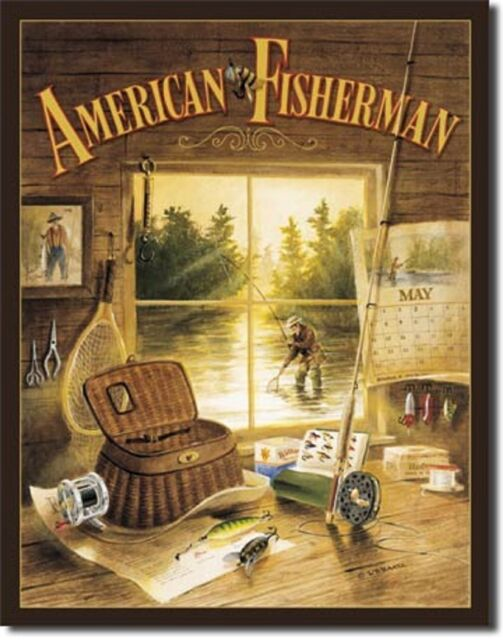 Fishing Tin Signs Vtg Tackle Ads & More Fisherman gifts + wall decor ...