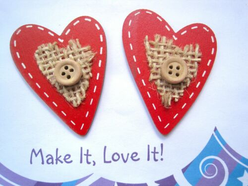 Cute 2 x RED WOODEN HEART or STAR Burlap Button Wooden Embellishments Stitch