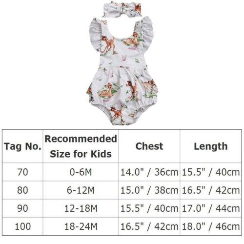 NEW Disney Bambi Baby Girls White Ruffle Romper Bodysuit /& Headband Outfit Set