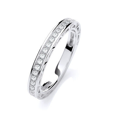J JAZ PRISCILLA Sterling Silver Cubic Zirconia Two Row Half Eternity Band Ring