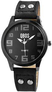 Qbos-Damenuhr-Schwarz-Analog-Metall-Kunst-Leder-Quarz-Armbanduhr-X1900201001