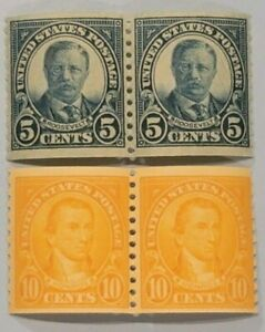 Scott#: 602/603 - Theodore Roosevelt & James Monroe Coil Pairs MNH OG - Lot 2