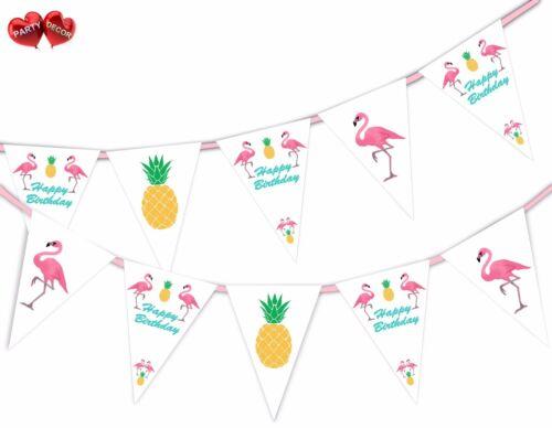Exotique Joyeux Anniversaire Bunting Bannière 15 drapeaux Flamant mix by Party Decor