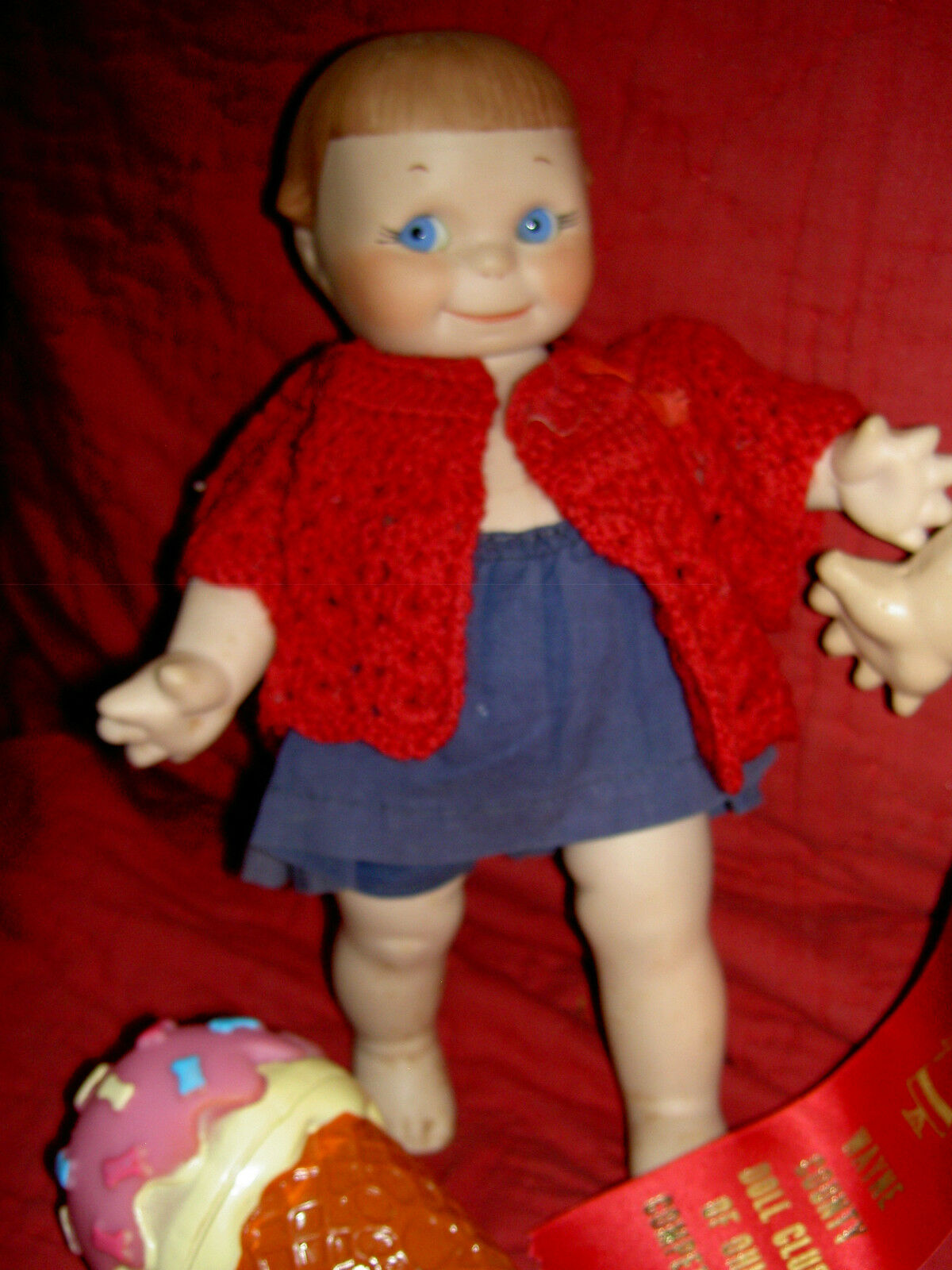 Adorable, large jointed, all bisque KEWPIE GAL signed doll by Helen Weed, c1974