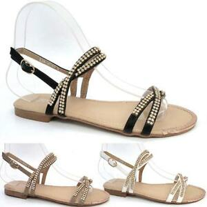 061c43187 Image is loading LADIES-WEDDING-SANDALS-NEW-FANCY-FLAT-SUMMER-DRESS-