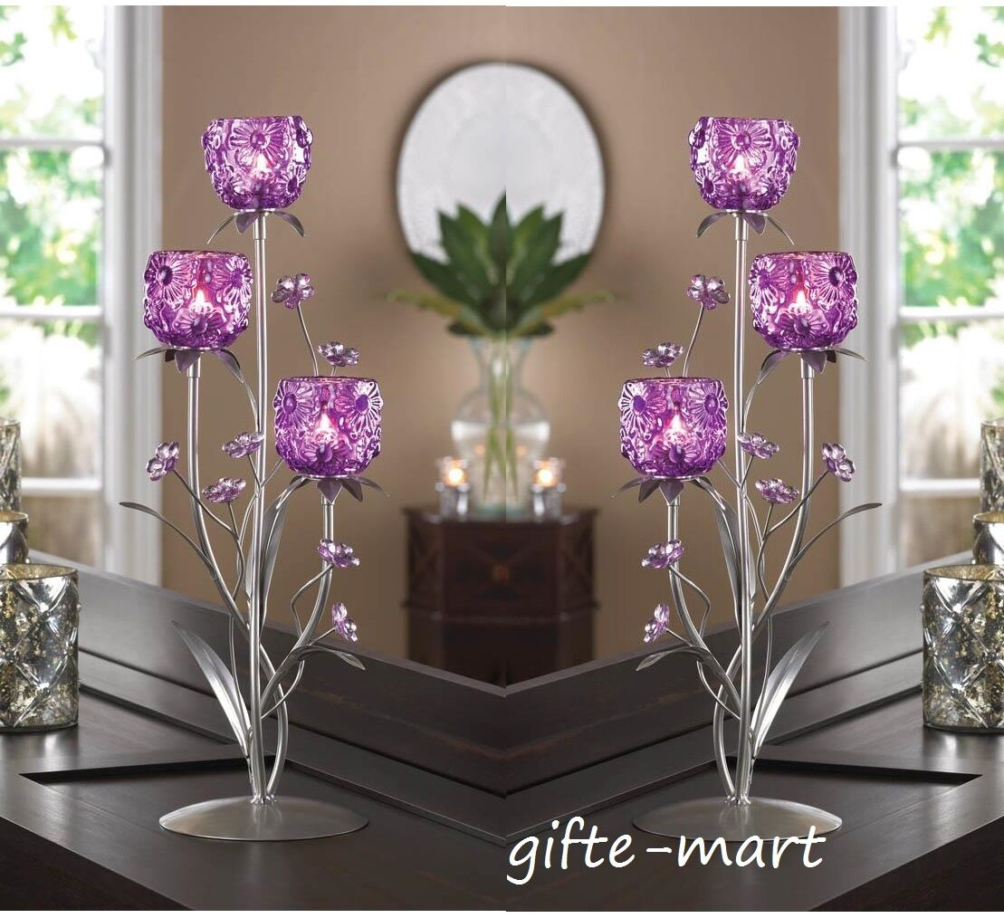 10 large purple 18  candelabra Candle Holder floral wedding table centerpieces