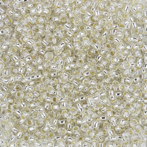 Toho Japonais Graine Perles 3 mm Ronde Taille 8//0 Argent Doublé Cristal 10 g L47//7
