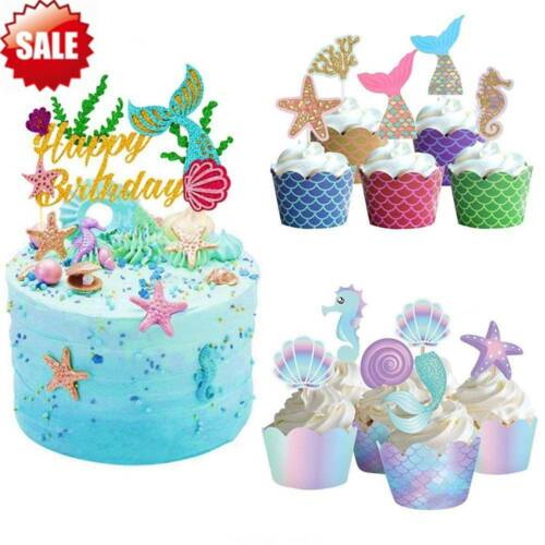 Mermaid Glitter Cake Toppers BABY SHOWER Wedding Birthday Party Cake Decoration