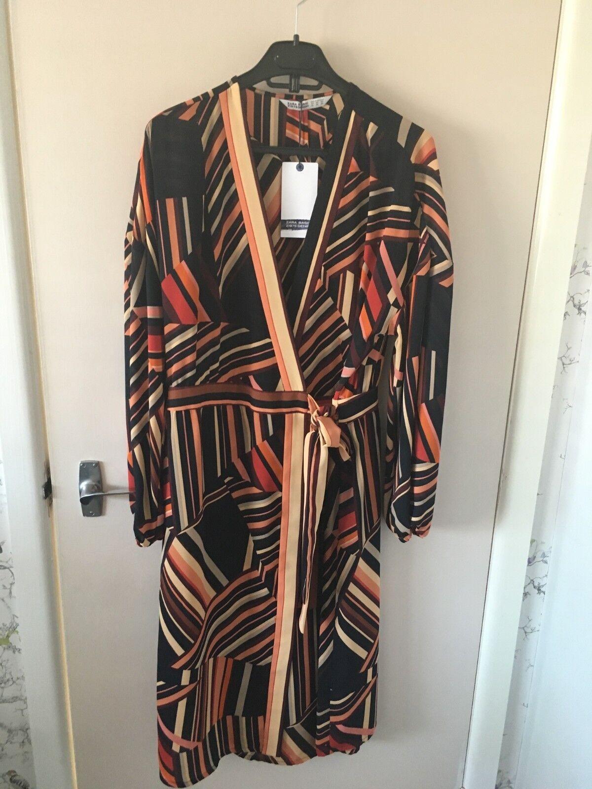 BNWT ZARA Striped Long Sleeve Sarong Dress Size XL