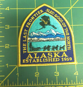Alaska-Iron-on-Patch-The-Last-Frontier-Sled-Dog-of-the-North-dogsled-musher