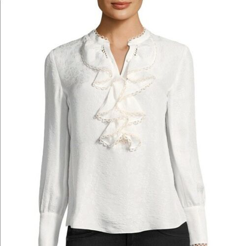 Rebecca Taylor Floral Ruffled Cloque Top In Snow 2