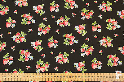 STRAWBERRIES ON COLOURED BACKGROUND - PRINTED POLY COTTON FABRIC - WIDTH 112 CM