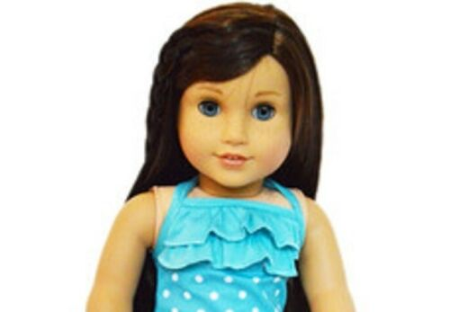 """Doll Clothes 18/"""" Bathing Suit Cyan Blue White Polka Dot Fits American Girl Dolls"""