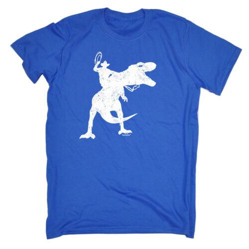 Dinosaur Cowboy MENS T-SHIRT tee birthday gift dino t-rex wild west joke funny