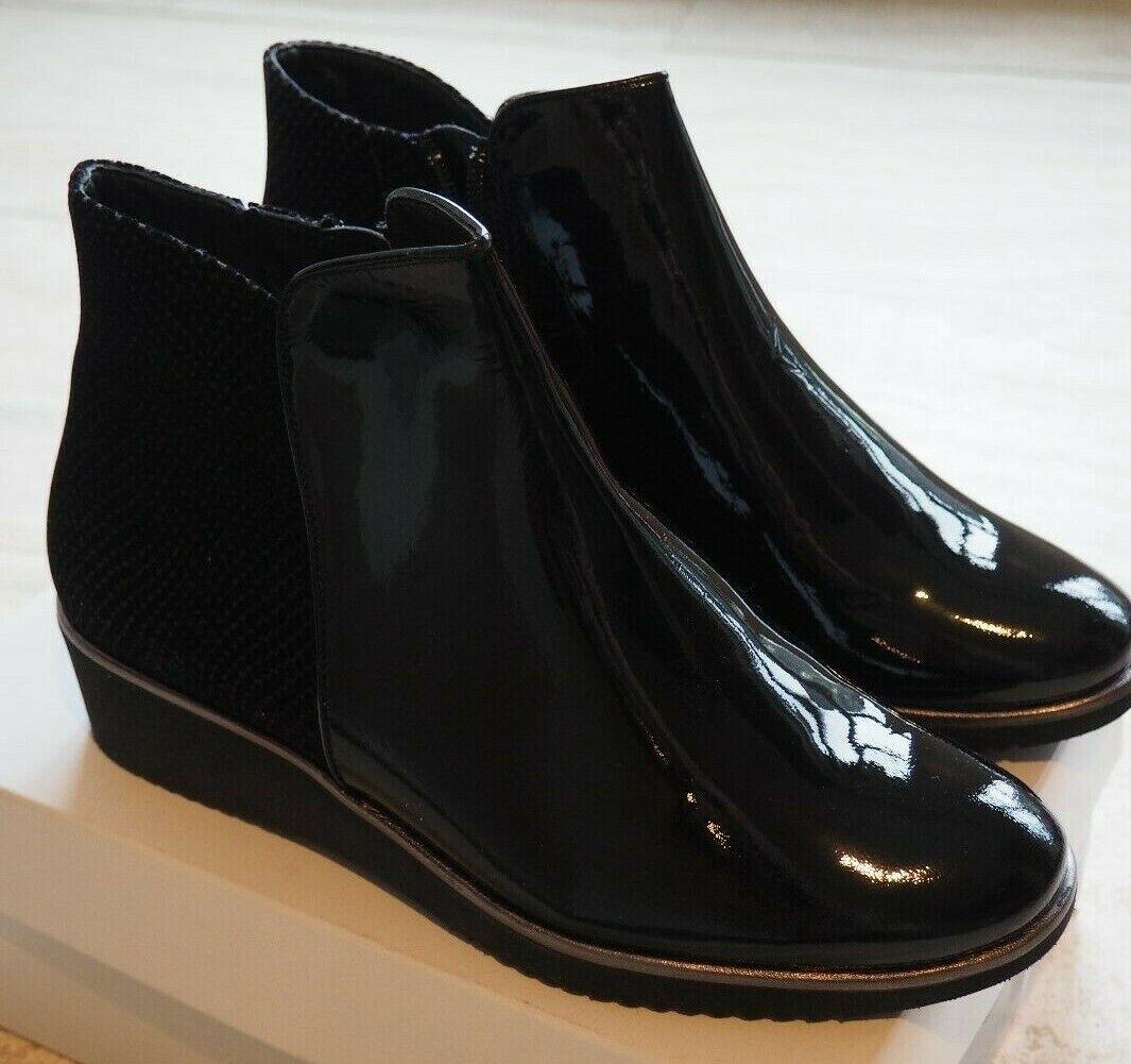 HASSIA Stiefeletten schwarz Lack Keilabsatz Gr.39  UK 6    NEU