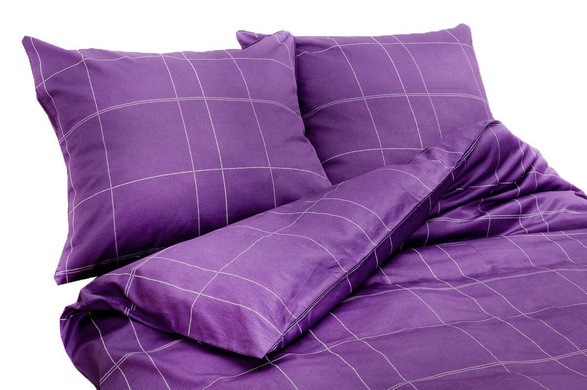 Elegante Raso-Biancheria da letto 2 combinate 6013-line, 200x200cm-viola