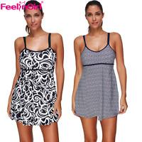 Womens Plus Size Swimdress Padded Bikini Swimsuit Swimwear Bathing Suit Tankini