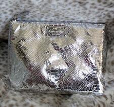 NWT KATE SPADE FOILED AGAIN GIA Pouch Makeup Bag  Clutch faux snake skin silver