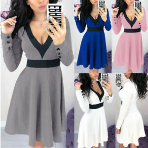 Women Deep V Neck Long Sleeve A Line Short Mini Skater Dress Ladies Casual Party by Unbranded