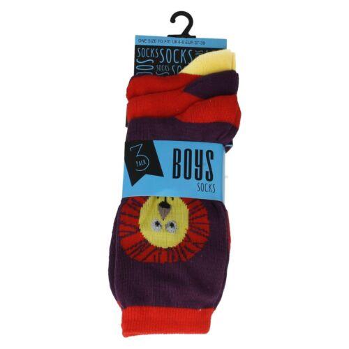 Boys 3 Pack Socks 2 Design To Choose From Lion OR Monkey SK308