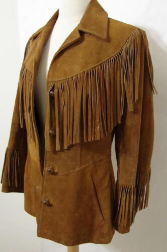 Vintage Jacket 70's MS PIONEER Brown Leather Fring