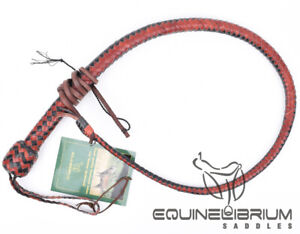 Equinelibrium-039-s-3-Foot-12-Plait-Leather-bullwhip-Snake-whip-Self-Defence-whip