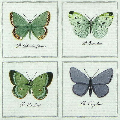 4x Paper Napkins for Decoupage Craft Sagen Vintage Big Butterflies