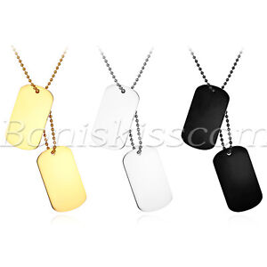 Men-Women-Polish-Stainless-Steel-2-Dog-Tag-Pendant-Necklace-Chain-Free-Engraving