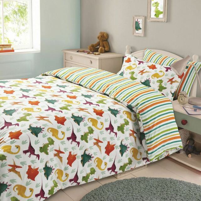Dinosaur Multi Duvet Quilt Cover Pillow Case  Bedding Set Single Double King