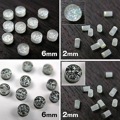 Acrylic Plastic sparkle Dot Neck Inlays. 6mm, 2mm. FB15 FB16