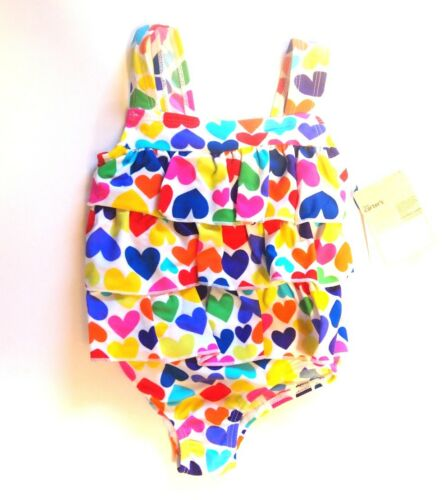 NWT Carter/'s Girls Fun In The Sun 1-Piece Hearts Tiered Bathing Suit 18 Mo 24 Mo