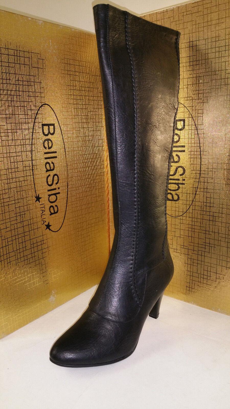 Bella Siba Italia Black Womens Knee High Heel Fashion Boots size 37-41 21082