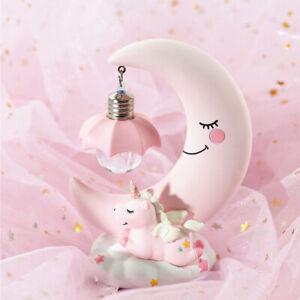 Unique Led Night Light Unicorn Moon Resin Cartoon Baby Lights Lamp Bedroom Decor Ebay