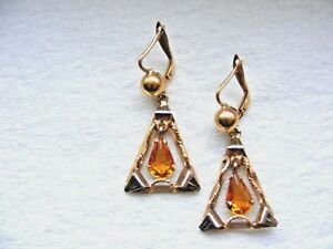 Estate-Find-Vtg-18k-750-Yellow-Gold-Citrine-Dangle-Earrings