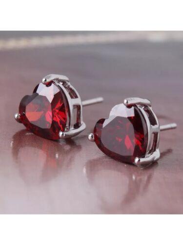 Garnet Heart Stud .925 Sterling Silver Earrings  NWOT