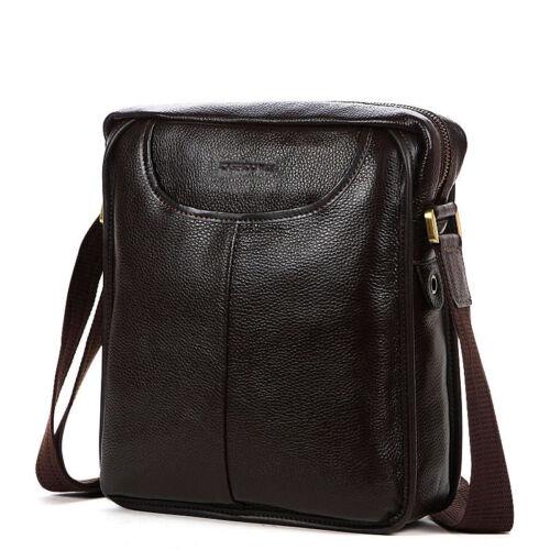 Men/'s Genuine Leather Real Cow Crossbody Messenger Bag Shoulder Briefcase Purse