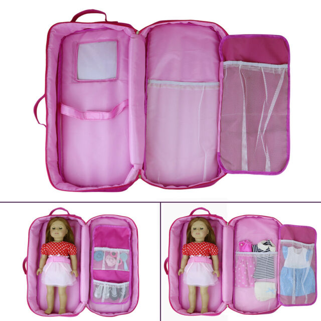 Party Zealot Doll Case for 18-inch Dolls Storage Travel Carrier Suitcase Grea...
