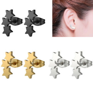 Men-Women-Silvery-Stainless-Steel-Star-Carved-Ear-Stud-Earrings-Piercing-Nimble
